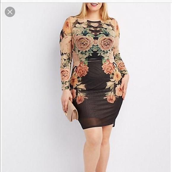 Charlotte Russe Plus size floral mesh dress